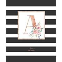 Dotted Journal: Dotted Grid Bullet Notebook Journal Black and White Stripes Rose Gold Monogram Letter a (7.5 X 9.25) for Women Teens Girls and Kids