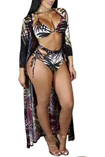 f3e289f8f46 Viottiset Women s Printed 3 Pieces High Waist Bikini with Maxi Swimsuit  Cover up
