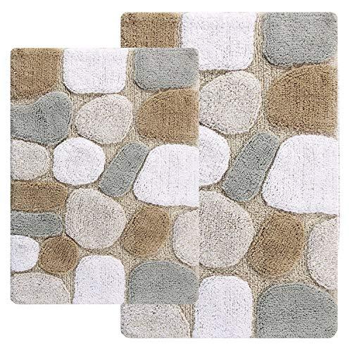 Chesapeake Merchandising, Inc Rockway Pebbles Cotton 2-Piece Bath Rug Set with Bonus Step Out mat Pebbles