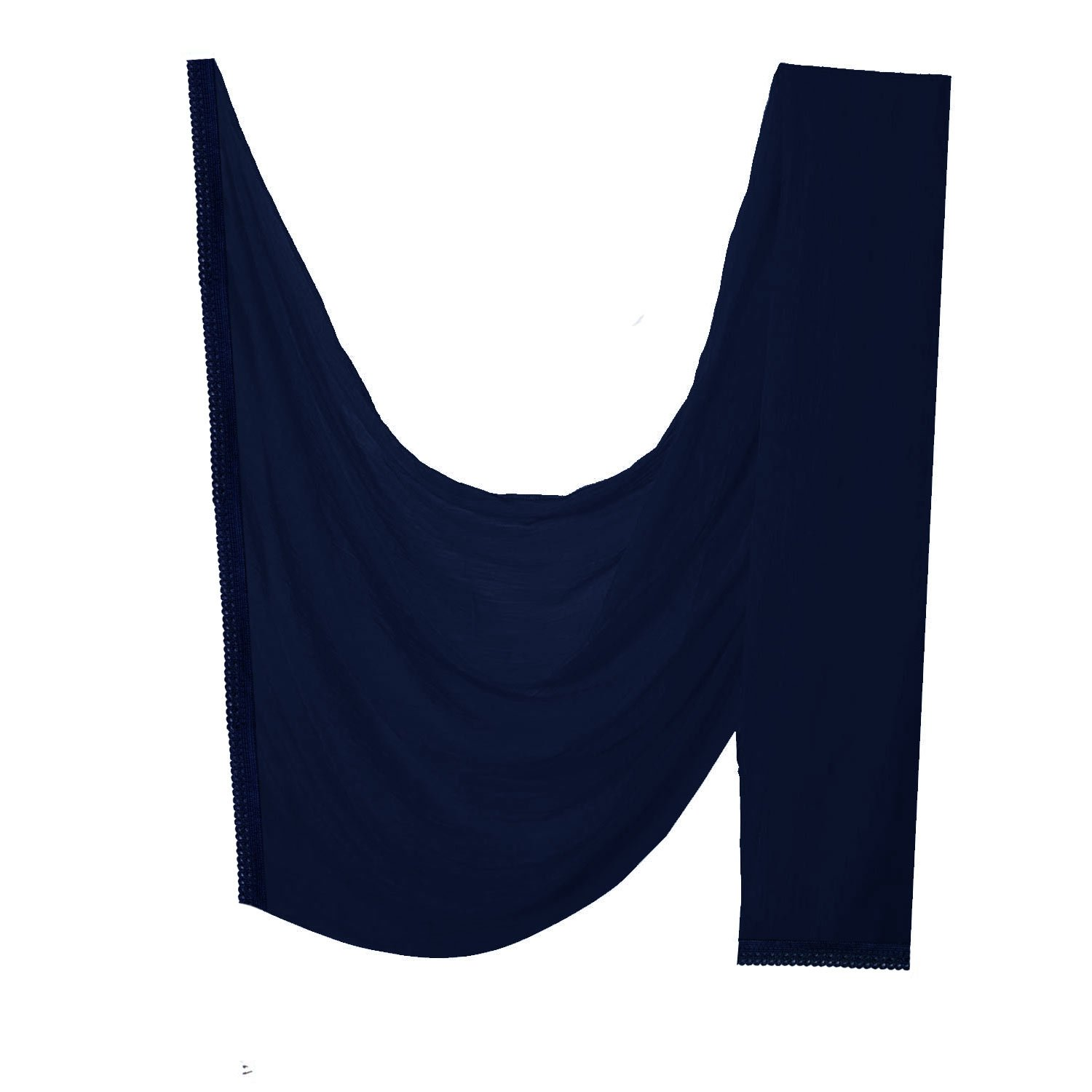 Indian Women Dupatta Crochet Lace Border Hijab Neck Wrap Scarf Stole Traditional Gift (Navy Blue)
