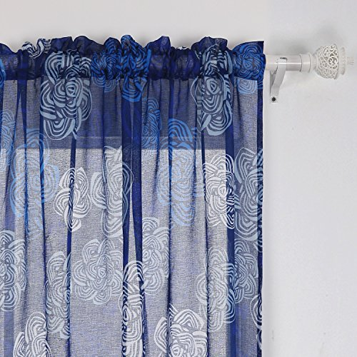 Deconovo Sheer Curtains Modern Floweres Printed Curtains For Windows 42W x 95L Inch Blue White Dark Blue Two Panels