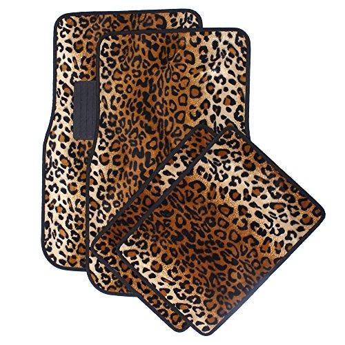 OxGord Leopard Floor Mats Beige