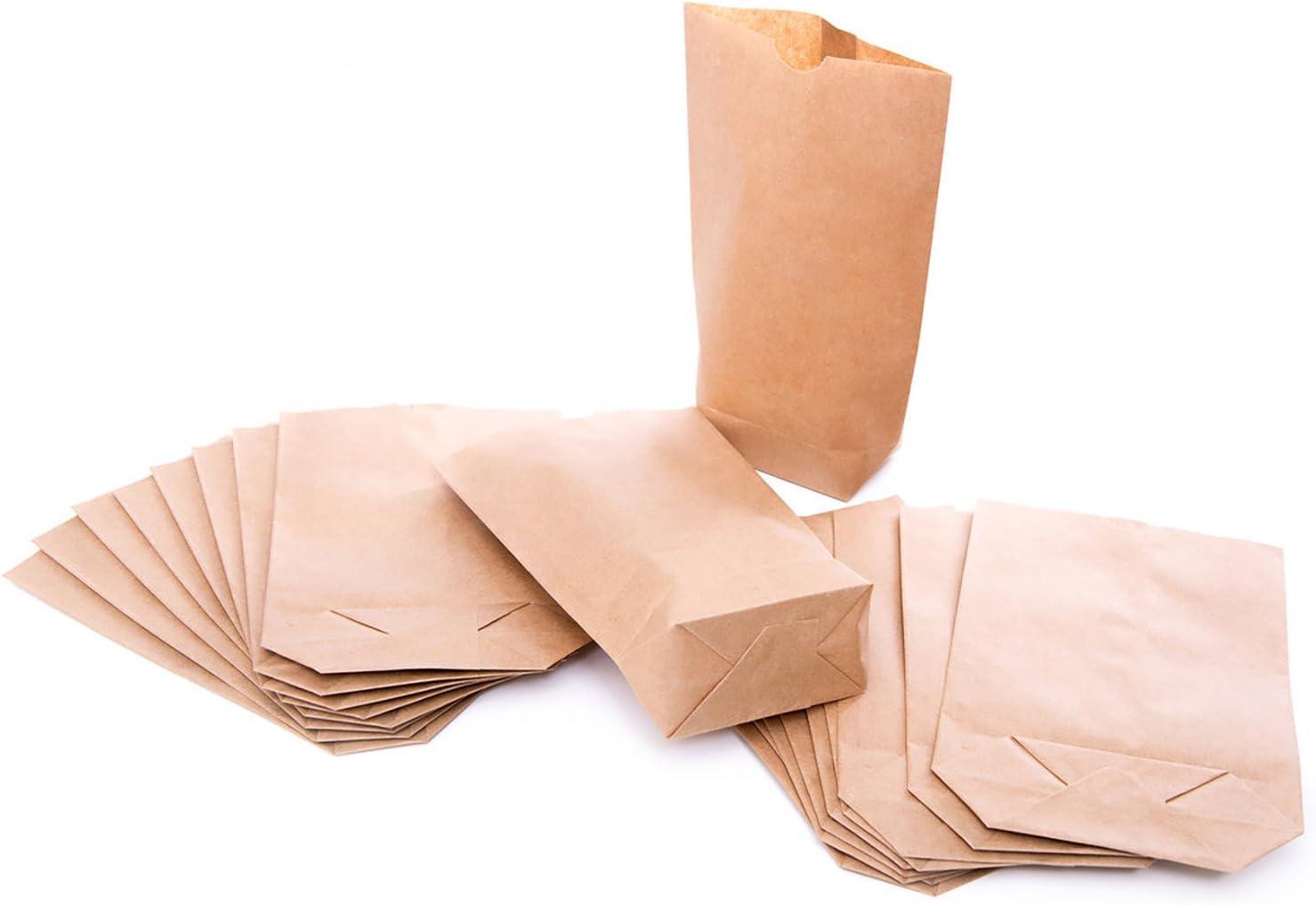 100petits sacs en papier avec fond (14x 22x 5,6cm) en papier kraft-pour pochettes cadeaux, calendrier de l'avent, cadeaux, etc.