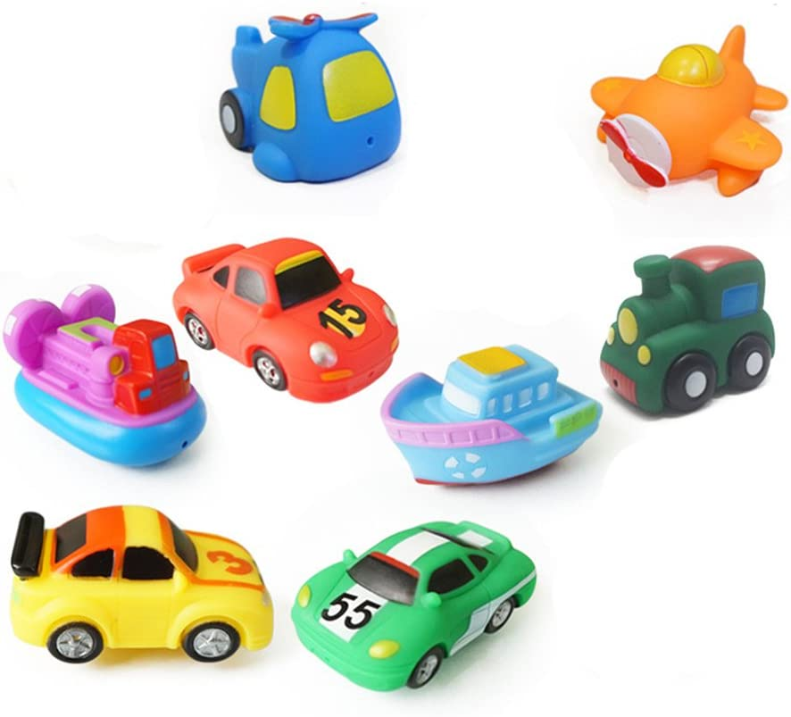 TOYMYTOY Bath Swimming Toys,8 Assorted Mini Pool Toys 3 Racing Car + Train + Boat + Hovercraft + Helicopter + Fighter