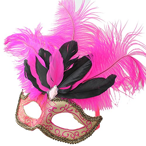- PVC Venetian Mask with Ostrich Feathers for Wedding Dancing Party Masquerade (Hot Pink)