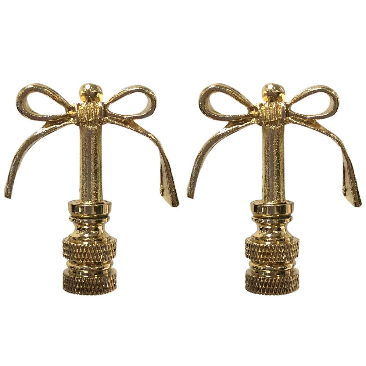 Set of 2 Polished Brass Royal Designs F-5065PB-2 Bow Tie Design Lamp Finial