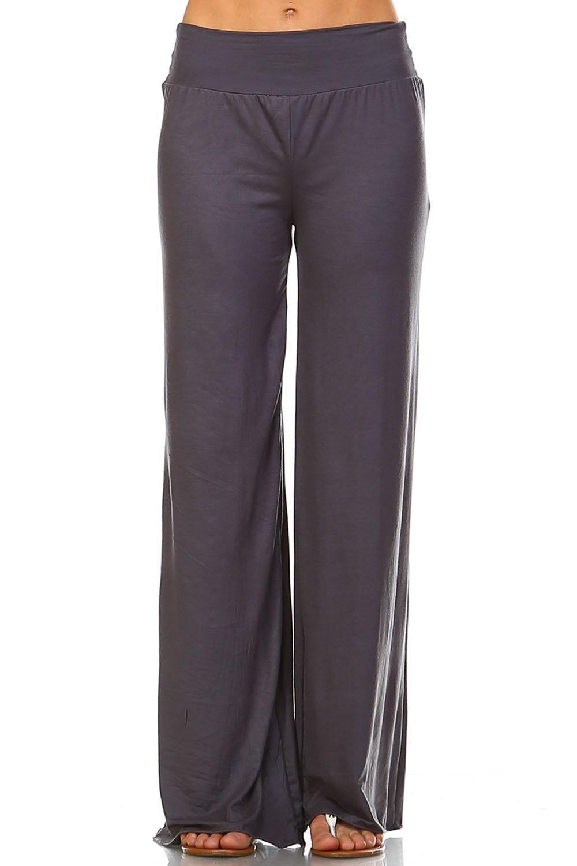 Simplicitie Women's Plus Size Casual Wide Leg High Waist Bohemian Palazzo Pants - Grey, 2X - Made in USA