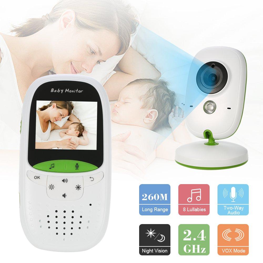 OWSOO Moniteur de Bébé 2.4GHz Sans Fil, 2.0 Pouce LCD Infrarouge, Surveillance de Température de Vision Nocturne, Babyphone Caméra de la Sécurité du Bébé
