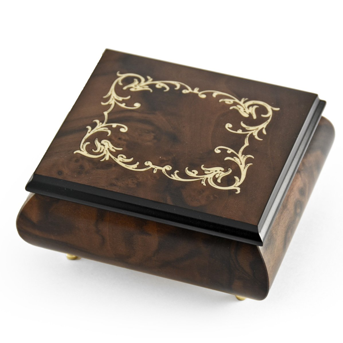 Small Musical Jewelry Box for Women - Artistic Burl Wood Jewelry Organizer Case with Compartment, Travel Jewelry Case with Music, 380+ Songs Selection - Perfect Gift for Mother's Day