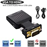 Lemorele VGA to HDMI 交換アダプタ VGA HDMI 変換ケーブル VGAオス to HDMIメスアダプタ 音声出力