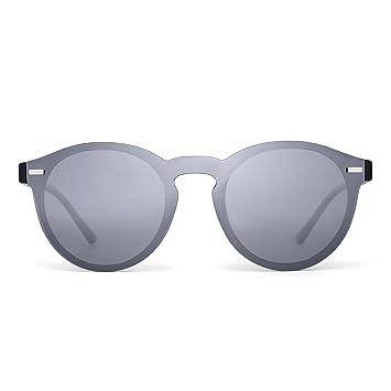Gafas de Sol Polarizadas Sin Marco Club Redondas Sin Montura Espejo Reflexivo Plateado