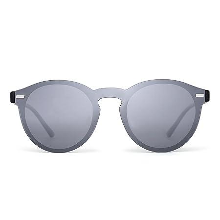 cd38792639 Polarizadas Sin Montura Borde Con Cuerno Gafas de Sol Redondas Espejo Una Pieza  Anteojos Para Mujer Hombre(Plateado/Negro): Amazon.es: Deportes y aire libre