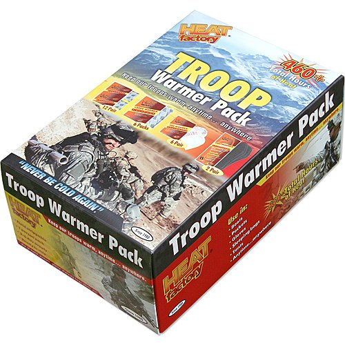 Heat Factory Troop Warmer Pack: 12 Pair Hand, 6 Pair Toe, 2 Pair Insole, and 6 Large Body Heat Warmers