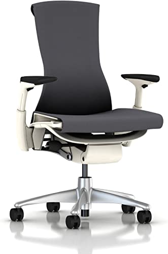 Herman Miller Embody Chair Fully Adj Arms – White Frame Titanium Base – Standard Carpet Casters