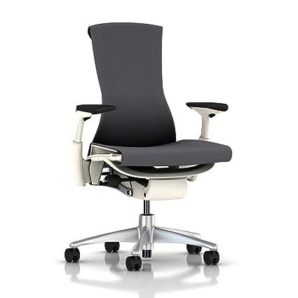 embody chair herman miller. Herman Miller Embody Chair: Fully Adj Arms - White Frame/Titanium Base Standard Chair E