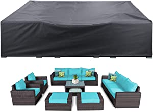 AKEfit Heavy Duty Outdoor Patio Furniture Cover,Waterproof Snowproof Patio Set Cover Fits 8-10 seat Table Chairs, Durable Sectional Couch Protector (110x84x28 in)
