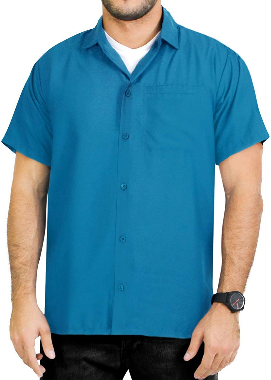 LA LEELA Casual Hawaiana Camisa para Hombre Señores Manga Corta Bolsillo Delantero Surf Palmera Caballero Playa Aloha 6XL-(in cms): 172-178 Azul_X381