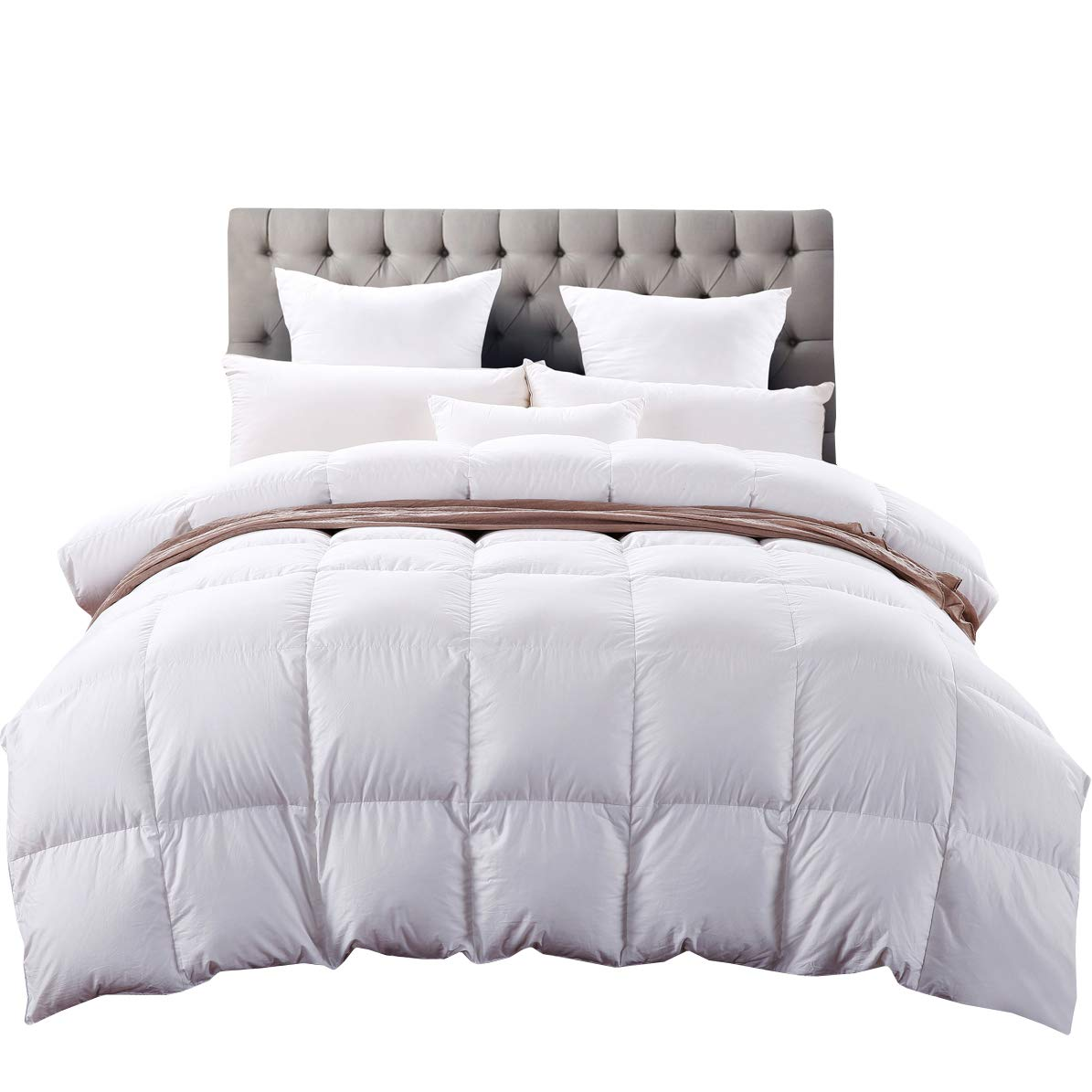 C&W Luxurious King/California King Size Siberian Goose Down Comforter,Heavywarmth Winter,Down Comforter King Size, 1200 TC-100% Egyptian Cotton Cover,750 Fill Power,70 oz Fill Weight, White Solid BNTC