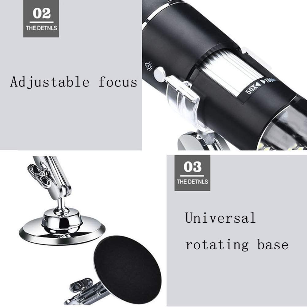 for iOS Android Hfoobsa 1000X Magnification Endoscope Mini Camera with Metal Stand Built-in 8 LED Lightsusb Digital Microscope