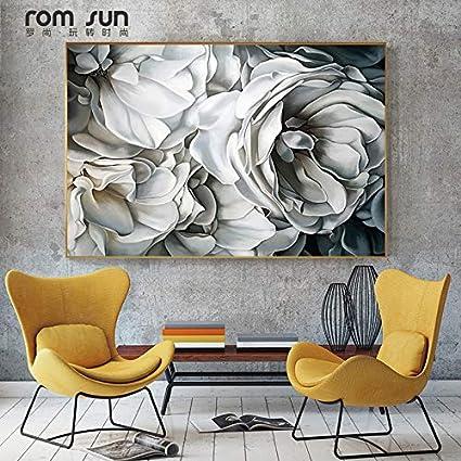 Xhhh Affiche Hd Nordic Big White Rose Toile Peinture Mur Art