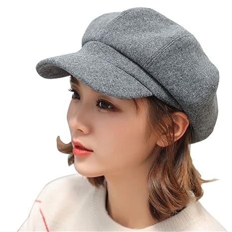 ff9933eca27f5 Autumn Winter Newsboy Cap Solid Plain Octagonal Hats Women Men Vintage Wool  Beret Retro Painter Boina