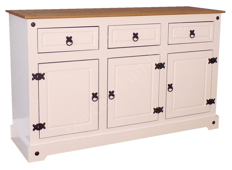 Mercers Furniture Corona Large 3 Door 3 Drawer Sideboard, White COWHT100