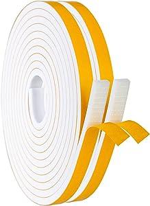 White Foam Weather Stripping, Adhesive Neoprene Rubber Foam Tape AC Unit Anti-Vibration Window Door Jamb Weather Strip (1/2