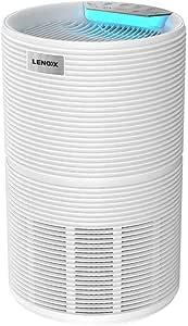 Lenoxx Air Purifier with CADR 170m³/h, 4 Fan speeds, Sleep Mode, air Quality Sensor, 2/4/8-hour Timer, Fan Speed Memory, Filter: Pre Filter + HEPA + Activated Carbon