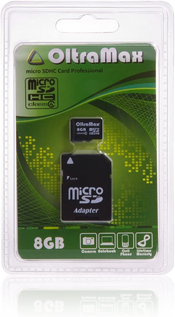 OltraMax Micro SDHC 8GB Class 4 Card with Adapter Packaged