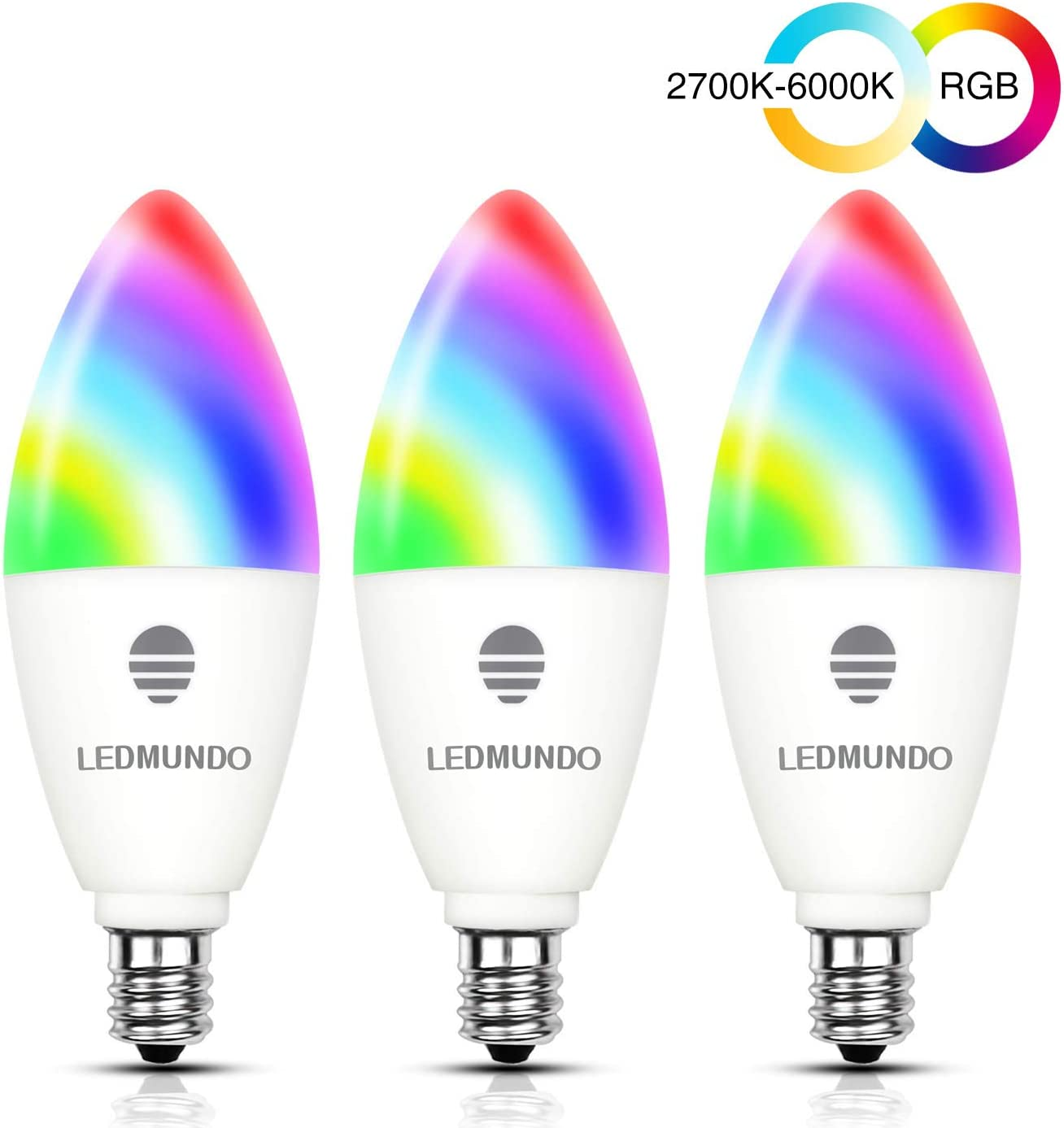 Smart Light Bulbs with White Light 2700k-6000k - 6W LED Candalabra Bulb E12 Base - 60W Equivalent - WiFi Multicolor Light Bulb - B11 RGB Color Changing Bulb, Works with Google Assistant, 3 Pack