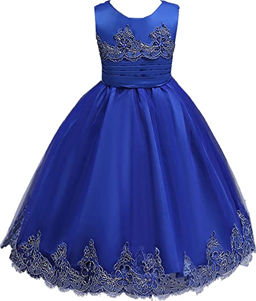 Shiny Toddler Vestido de Fiesta peagant para Chicas 7 a 8 Azul Real