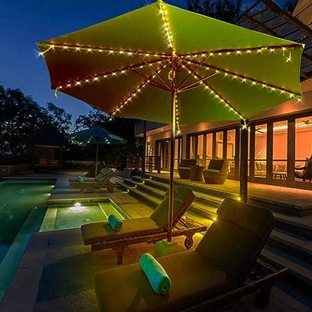 AFFC Sombrilla Luces LED Cadena 104 Impermeable al Aire Libre Solar del jardín Mar del Parasol de Playa lámparas 2 Piezas: Amazon.es: Hogar