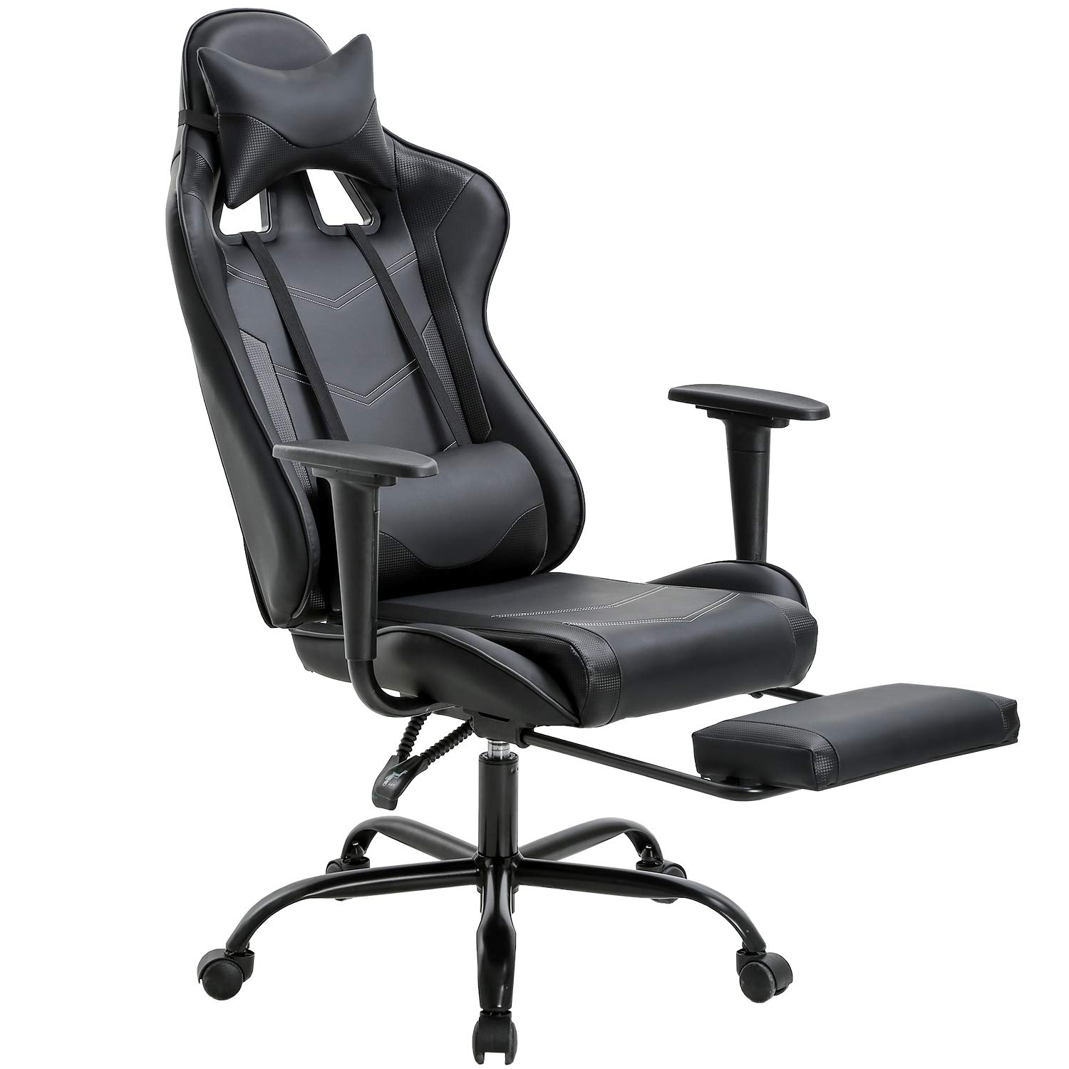 Office Chair PC Gaming Chair Ergonomic Desk Chair Executive PU Leather Computer Chair Lumbar Support with Footrest Modern Task Rolling Swivel Racing Chair for Women&Men, Black