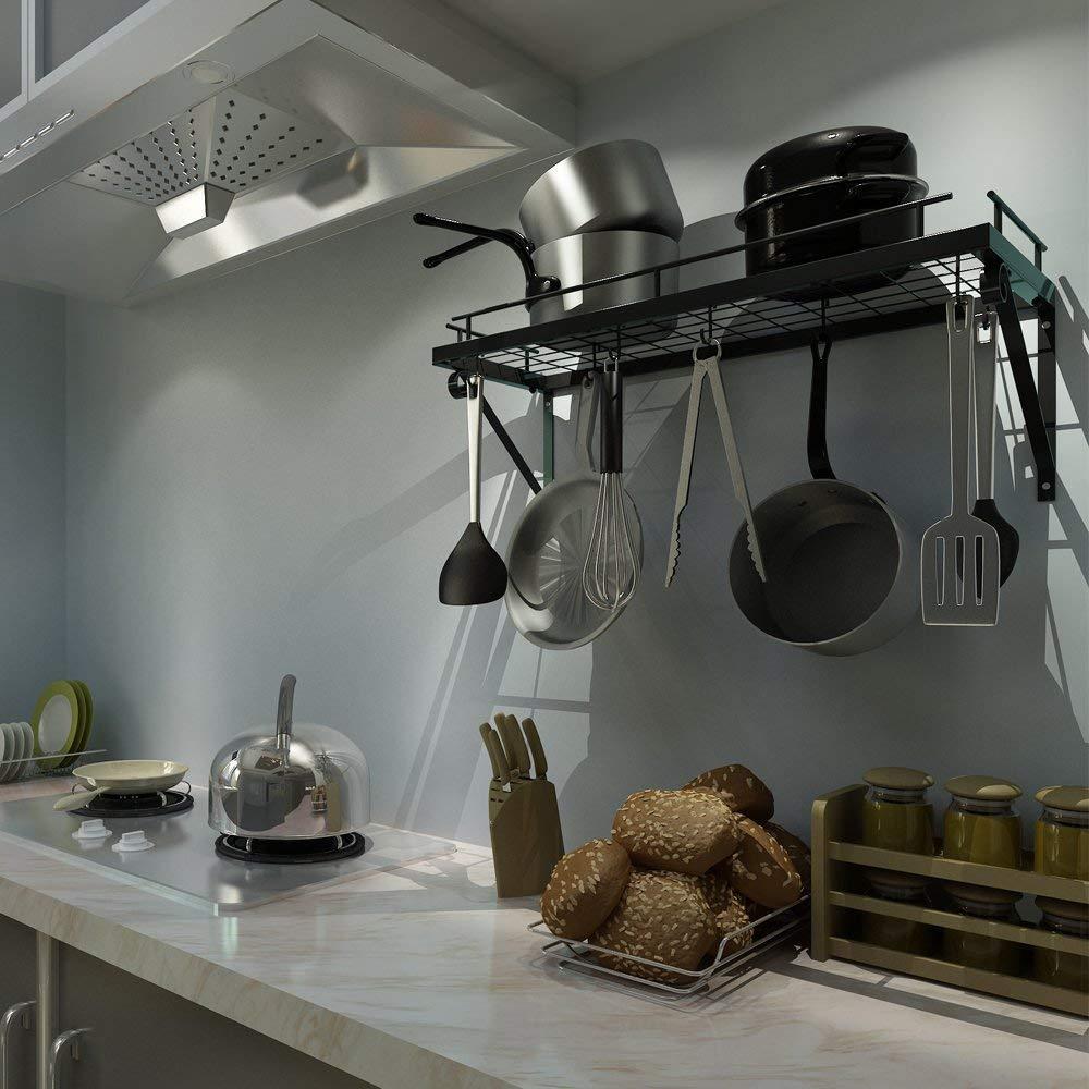 Amazon.com: MENG Kitchen Pan Rack Wall Mounted Holder Metal Hanging Rack Kitchen Storage Organiser with 10 Hooks, Black: Kitchen & Dining