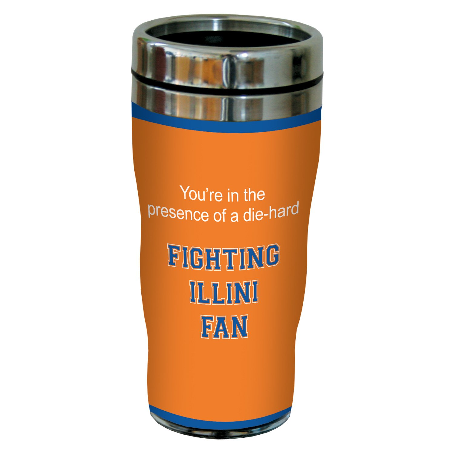 Tree-Free Greetings sg24736 Illini College Basketball Sip N Go Stainless Steel Lined Travel Tumbler 16 Ounce Tree Free