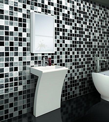 7-Shape Cedar Falls Modern Vanity Pedestal Sink with Medicine Cabinet, White, by -