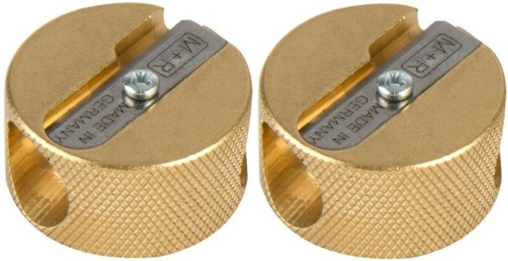 Alvin 9867 Solid Brass Double-Hole Round Pencil Sharpener (Pack of 2), Double-hole Sharpener with a Replaceable Blade, Accepts Large Diameter Pencils up to 5/16'', Blister-Carded