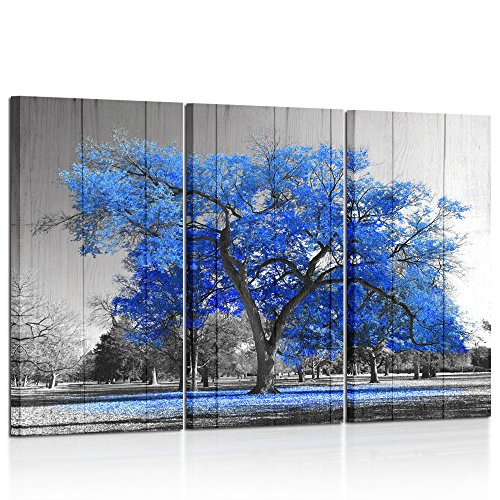 Kreative Arts Canvas Print Wall Art Painting Contemporary Blue Tree In Black And White Style Fall Landscape Picture Modern Giclee Stretched And Framed Artwork Vintage Wood Style (16x32inchx3pcs/set) (Framed Print Art 1')