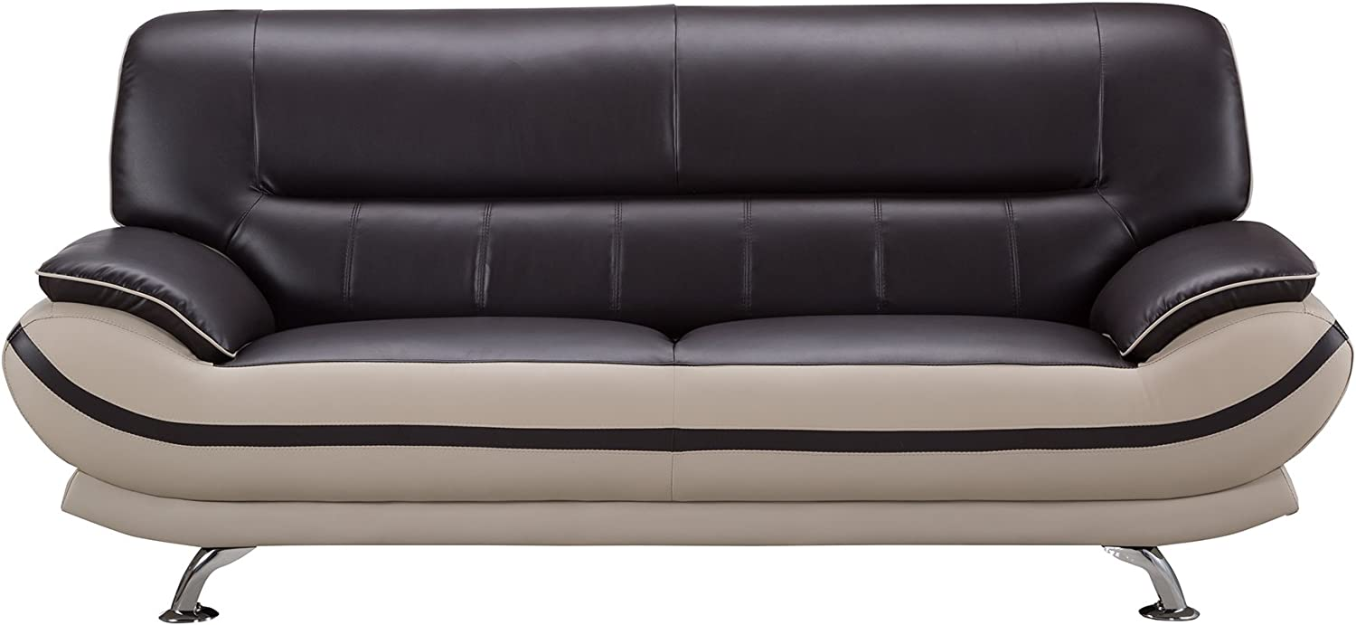 American Eagle Furniture Mason Modern Two Tone Bonded Leather Sofa with Added Base Support and Pillow Top Armrests, 82