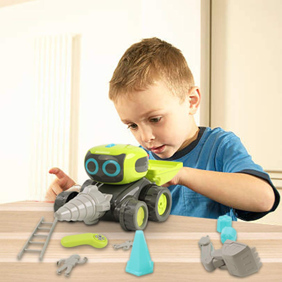GILOBABY Remote Control Construction Team Engineering Vehicle, 3 in 1 RC Robot Car, Dance Moves, Plays Music, Light-up Eyes, Gift for Kids Age 3+ by GILOBABY (Image #6)