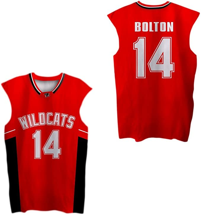 Zac E Troy Bolton 14 East High School Wildcats Red Patch Basketball Jersey