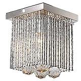 Mini Flush Mount Lighting Fixtures Chrome Lamp Square Crystal Chandelier Lighting for Living Dinning Room Kitchen