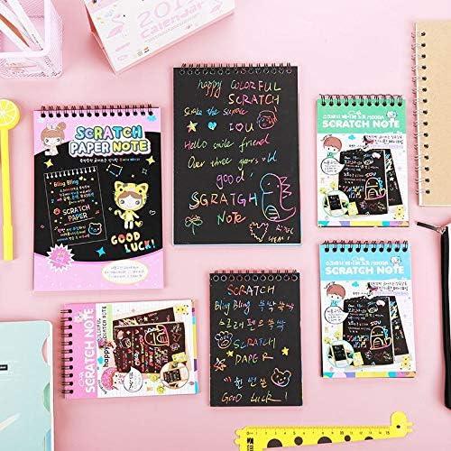 BOYI 4 Pack Rainbow Sketch Art Paper for Kids Crafts //Kid Stocking Stuffers 、Perfect Travel Activity Gift Girls Boys! BAIVYLE Magic Rainbow Scratch Art Mini Notes Pads