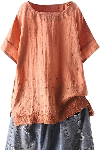Mallimoda Donna Tunic Top Girocollo Manica Corta Camicetta Estate Blusa T-Shirt