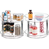 mDesign 2 Tier Lazy Susan Turntable Food Storage Container for Cabinets, Pantry, Fridge, Countertops - Spinning…