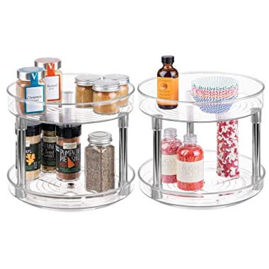 mDesign 2 Tier Lazy Susan Turntable Food Storage Container for Cabinets, Pantry, Fridge, Countertops - Spinning Organizer for Spices, Condiments - 9  Round, 2 Pack - Clear/Chrome