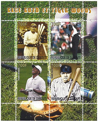 (Babe Ruth and Tiger Woods sports personalities stamp sheet for collectors with 6 stamps - 2007 / Djibouti)