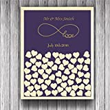 Engraved Mr and Mrs Infinite Love Rustic Wedding Guest Book Alternative Heart Drop Box Wood Personalized Wedding Shadow Box Purple