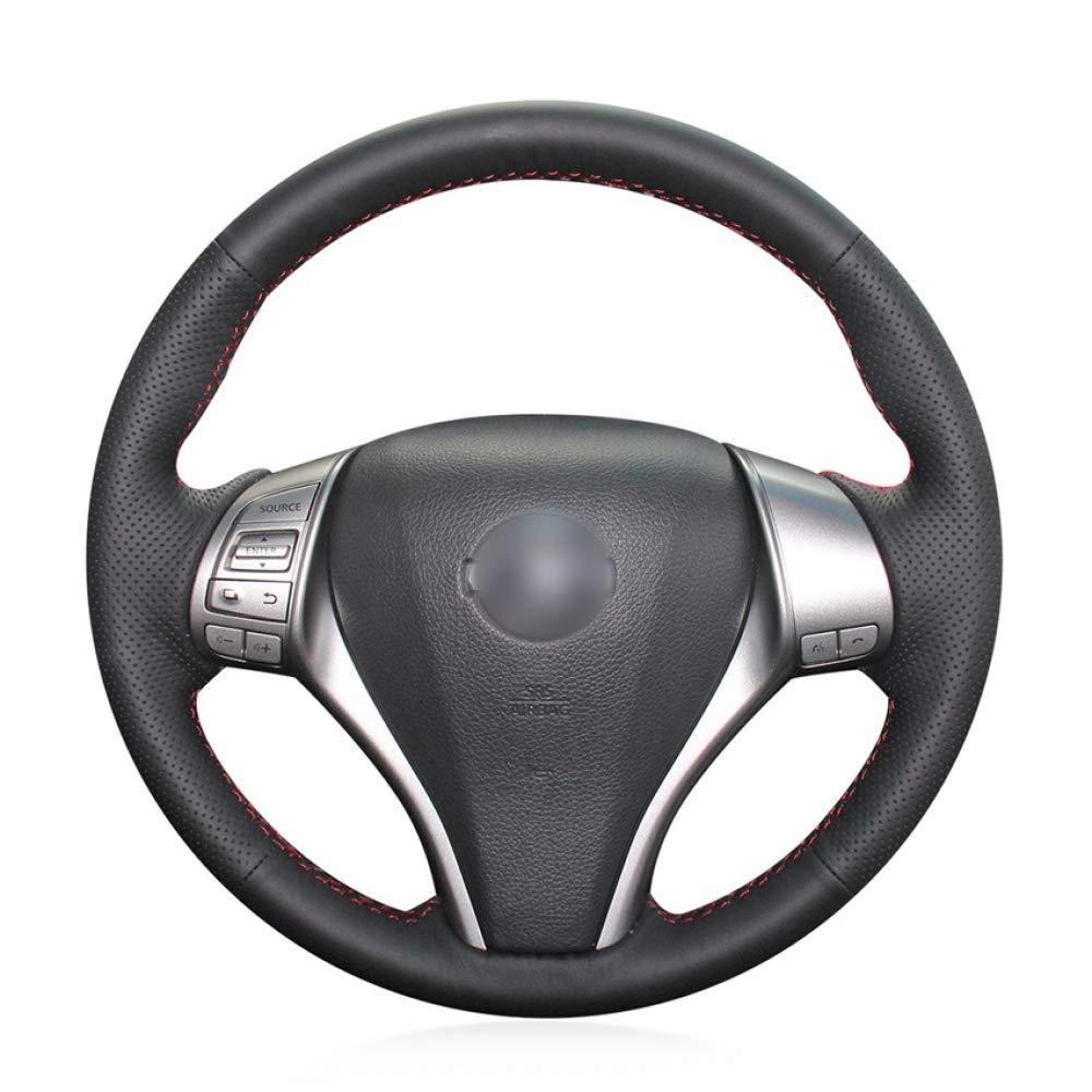 HCDSWSN Cubierta del Volante del Coche del Abrigo del Cuero auténtico Negro para Nissan Teana 2013-2018 Altima 2013-2018 X-Trail 2014-2017 Qashqai