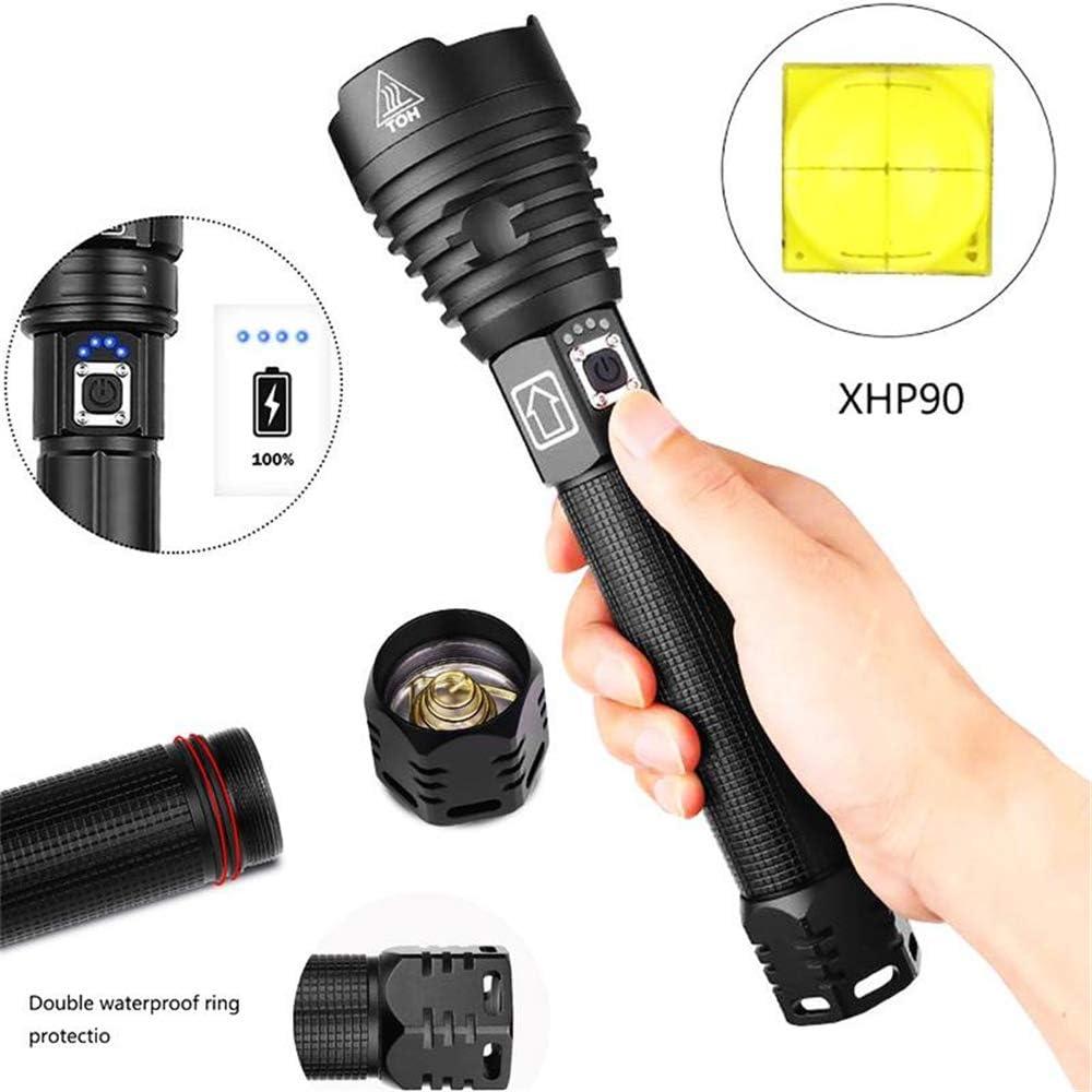 XHP90 100000 Lumens Lampe de Poche LED Haute Puissance Rechargeable USB 26650 Batterie Zoomable 3 Modes IPX-6 Etanche pour Camping Urgence Lampe de Poche en Plein Air